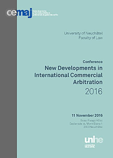 New Developments in International Commercial Arbitration